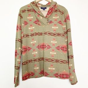 Chaps Olive Southwest Blanket Print Long Sleeve